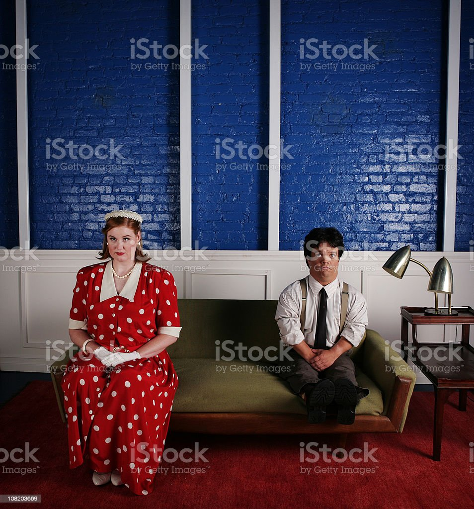 Short Young Woman with Man stock photo