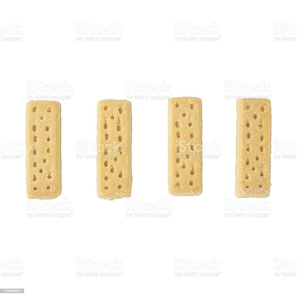4 shortbread biscuits on a white background. stock photo