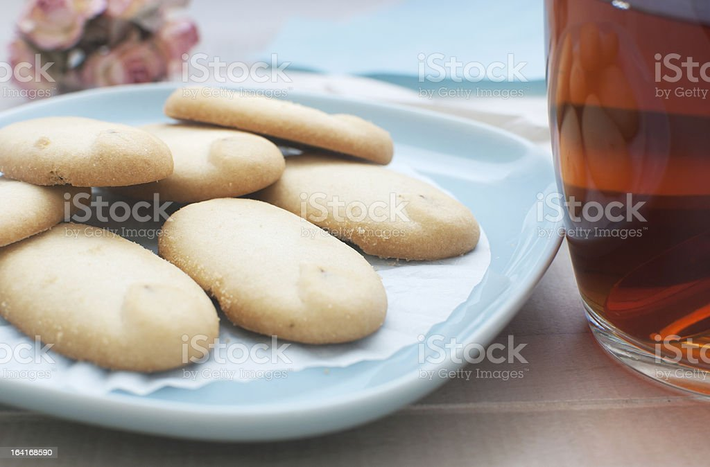 Shortbread cookies on blue plate royalty-free stock photo
