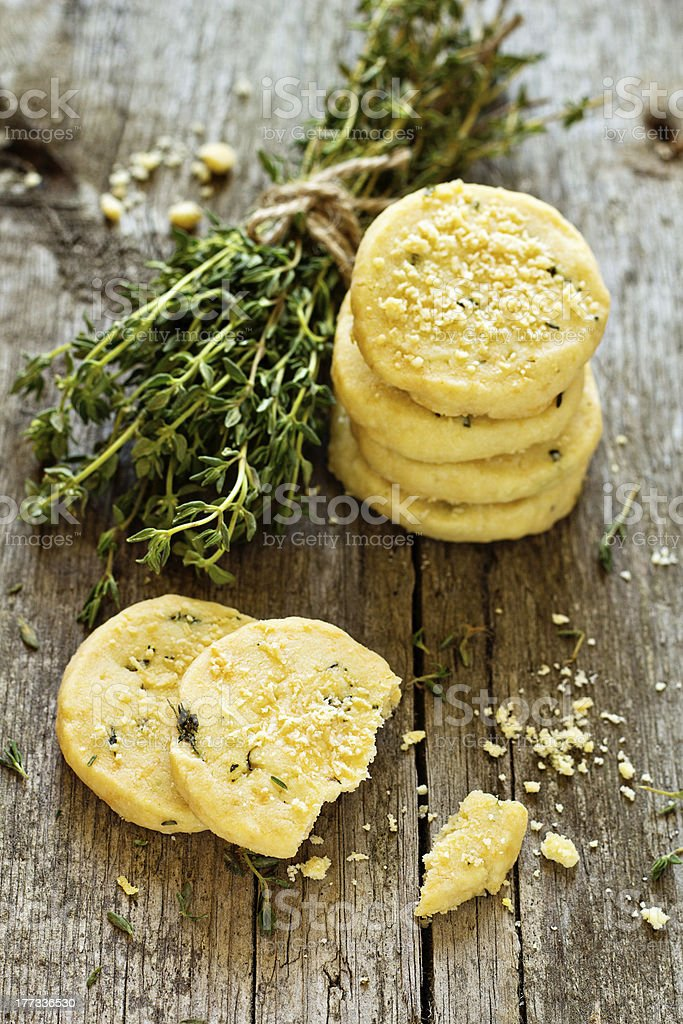 Shortbread cookies with thyme and parmesan stock photo