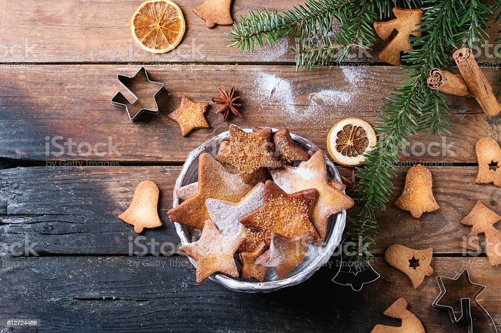 Shortbread star shape sugar cookies stock photo