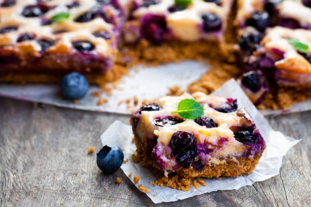 Shortcrust  pie with blueberries and condensed milk stock photo