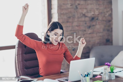 istock Short-haired bob feeling emotion expressing joyful energy yell shout online modern technology person pullover people concept. Excited crazy pretty joyful economist rejoicing browsing playing games 932931180