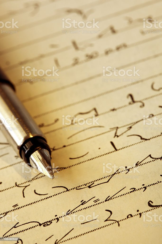 Shorthand and Fountain Pen royalty-free stock photo