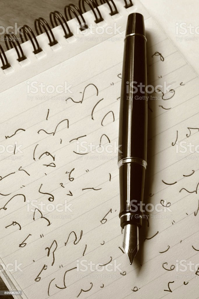 Shorthand and Fountain Pen stock photo