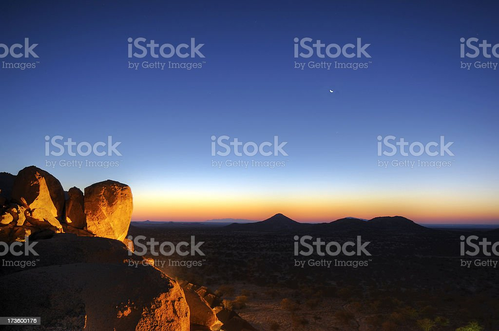 Shortly after sunset in the Erongo mountains royalty-free stock photo