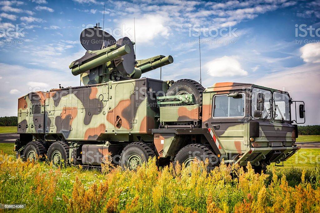 Short-range air missile on military truck stock photo