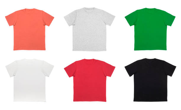 Shortsleeve cotton tshirt templates of various colors isolated on white stock photo