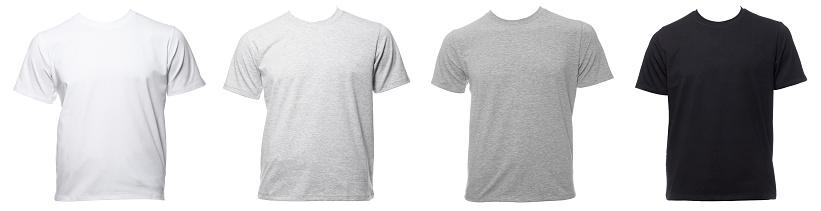 Shortsleeve cotton tshirt templates of various shades isolated on white isolated