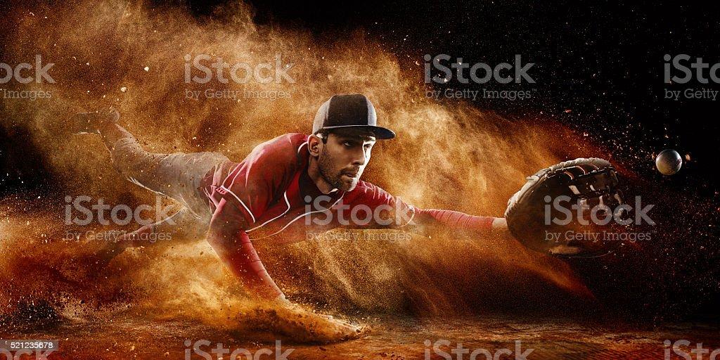 Shortstop catching stock photo