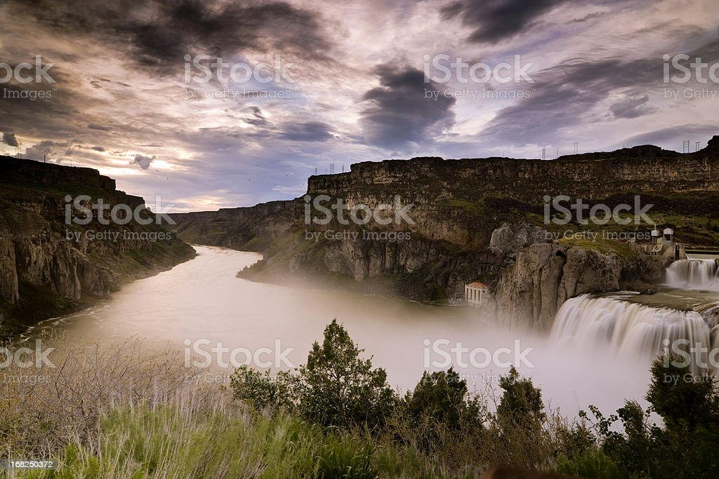 Shoshone Falls and Snake River stock photo