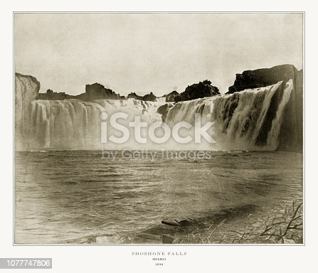 Antique American Photograph: Shoshone Falls, Idaho, United States, 1893: Original edition from my own archives. Copyright has expired on this artwork. Digitally restored.