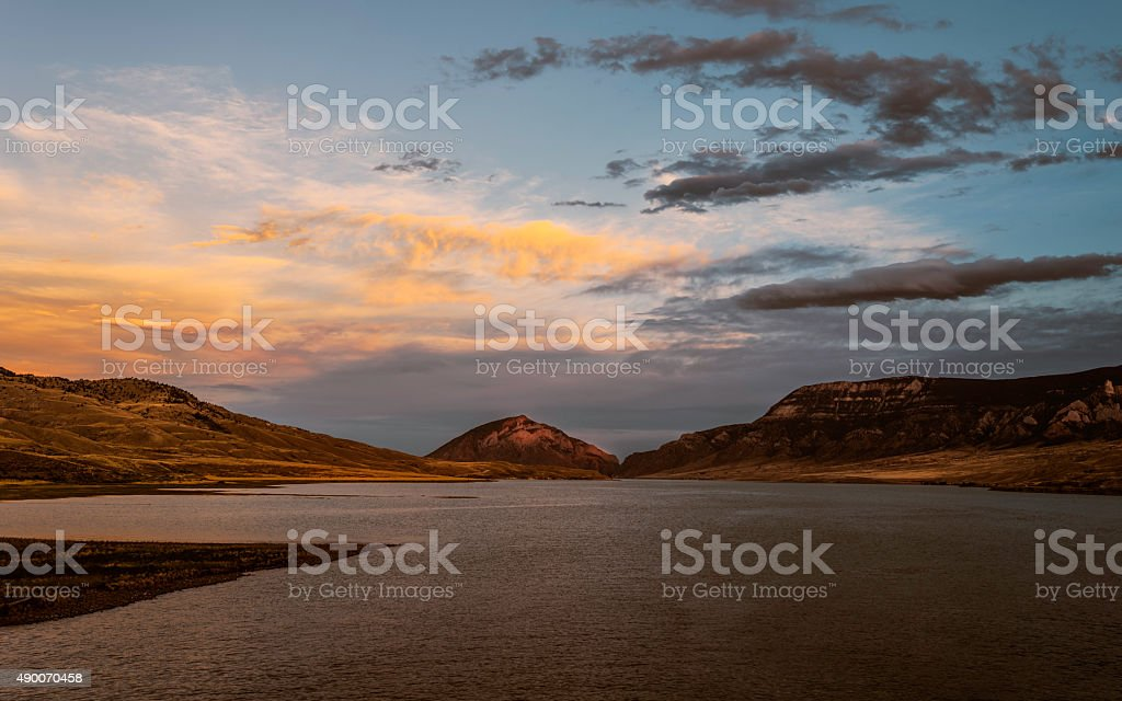 Shoshone river, Buffalo Bill State Park, Wyoming, USA. stock photo