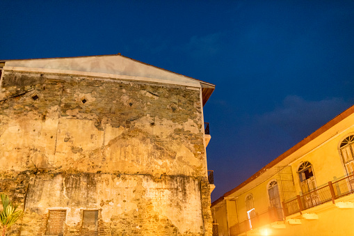 Shot at night, two apartment buildings of Casco Viejo also called Casco Antiguo, Panama City's Old Quarter established in 1673.