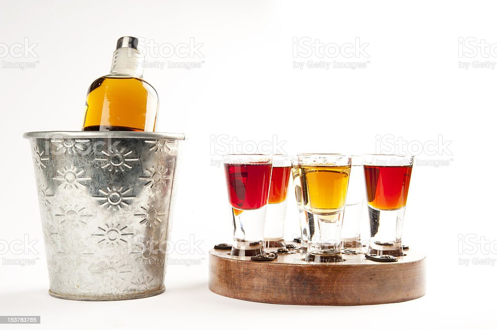 Shot Cocktails and bottle royalty-free stock photo