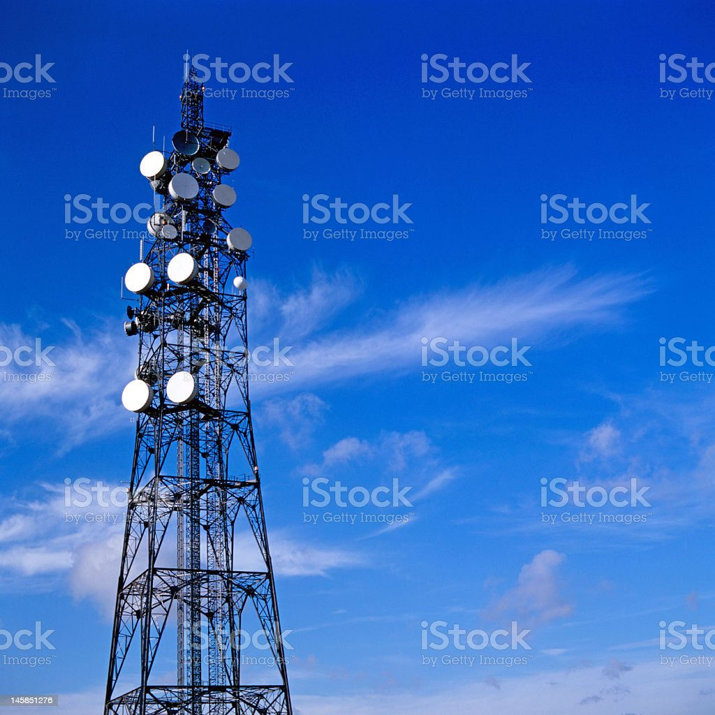 Shot from below of a communication tower royalty-free stock photo