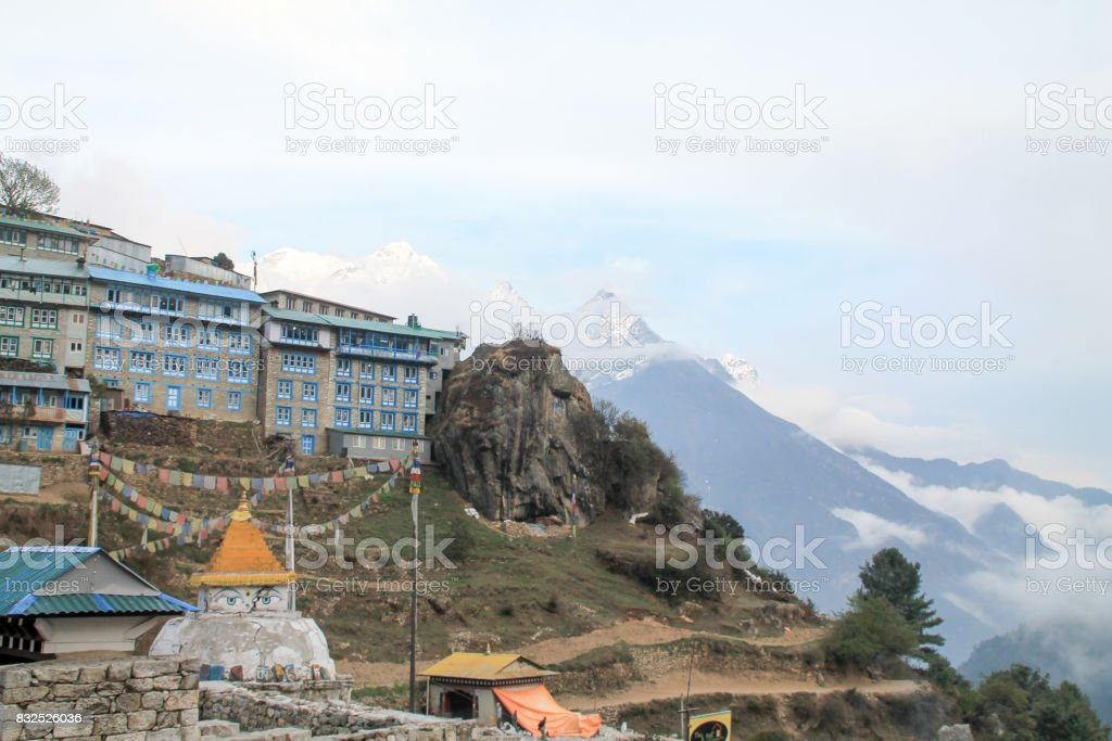 Shot from the Everest Basecamp trail at Namche Bazaar in Nepal stock photo