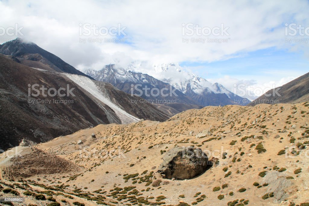 Shot from the Everest Basecamp trail in Nepal stock photo