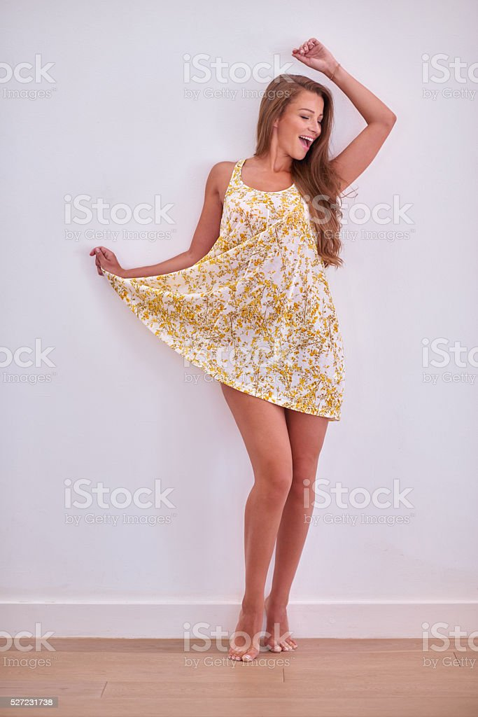 1ed0c1c89a Shot Gorgeous Brunette In Sexy Summer Dress Stock Photo   More ...