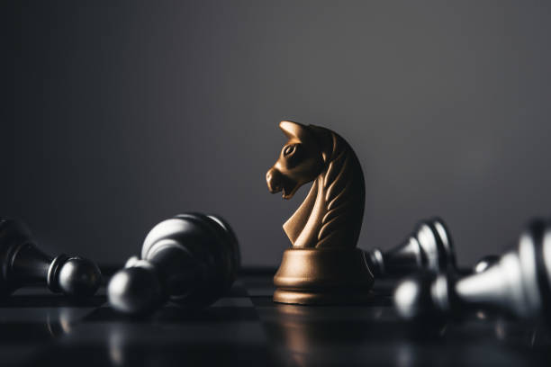 Shot of a chess board white house moving. Business leader concept. stock photo