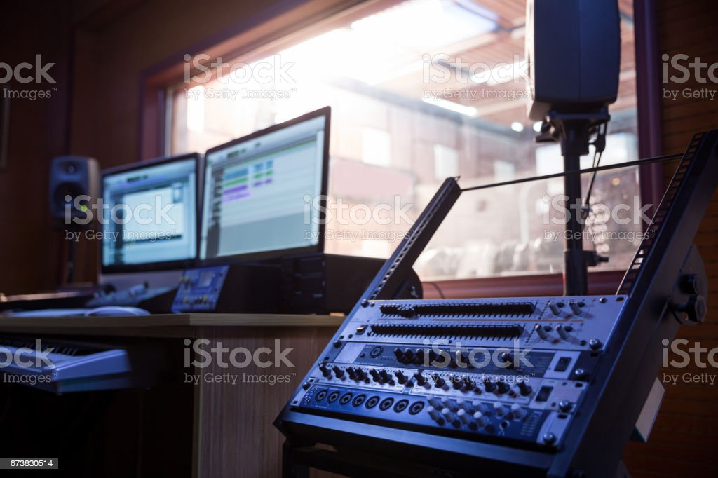 Shot of a control room in professional audio recording studio stock photo