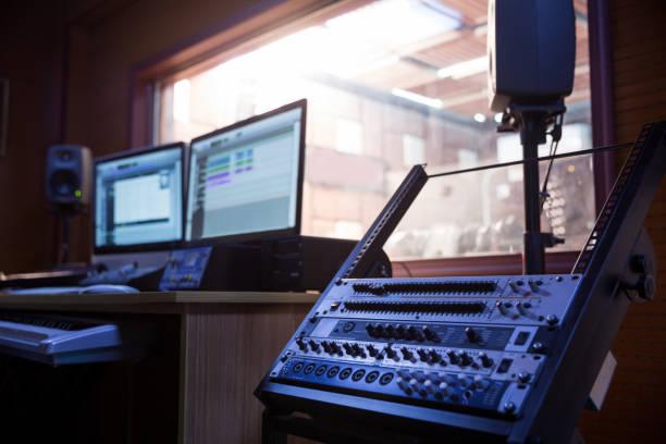 Shot of a control room in professional audio recording studio stock photo