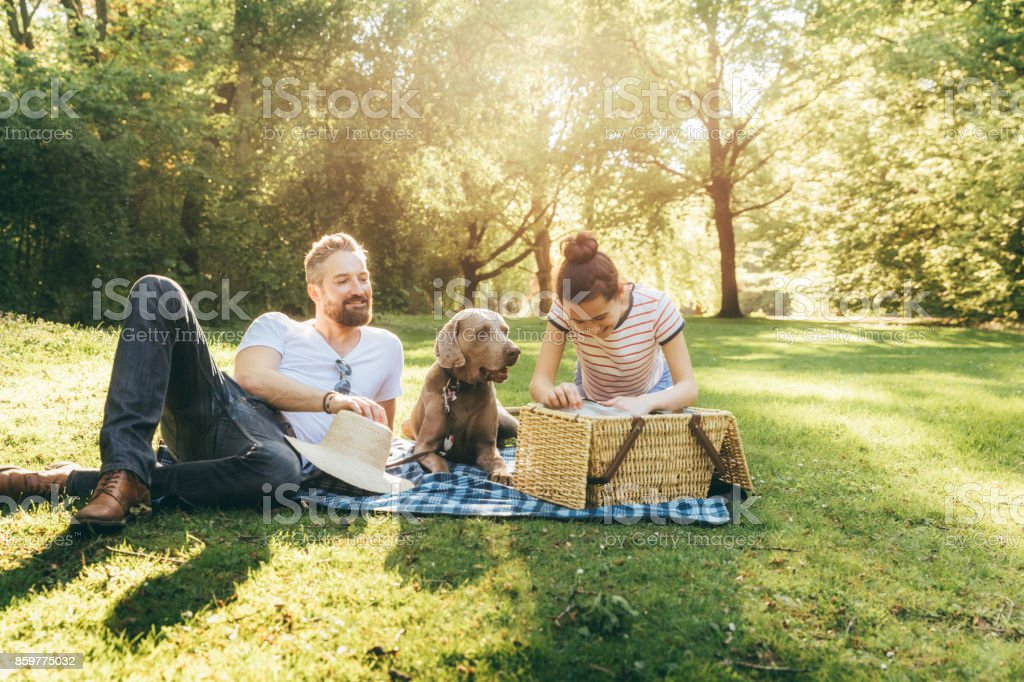 Shot of a happy father with teenage daughter and dog lying on a blanket in a park stock photo