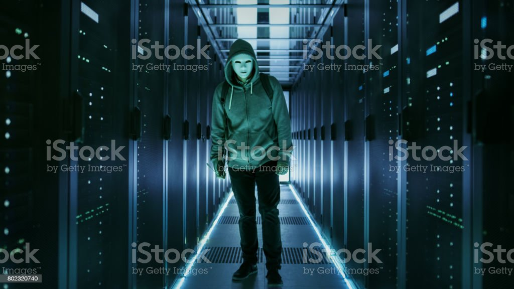 Shot of a Masked Hacker in a Hoodie Standing in Data Center with Rows of Rack Servers by His Sides. stock photo