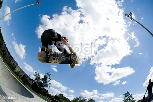 istock Shot of a skateboard trick catching air 92253869