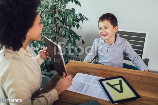 843899350istockphoto Shot of a speech therapist during a session with a little boy 1127757575