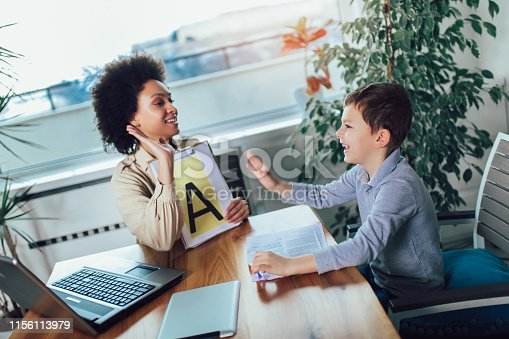 843899350istockphoto Shot of a speech therapist during a session with a little boy 1156113979
