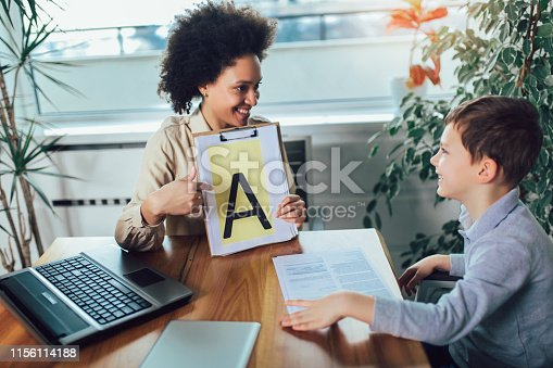 843899350istockphoto Shot of a speech therapist during a session with a little boy 1156114188