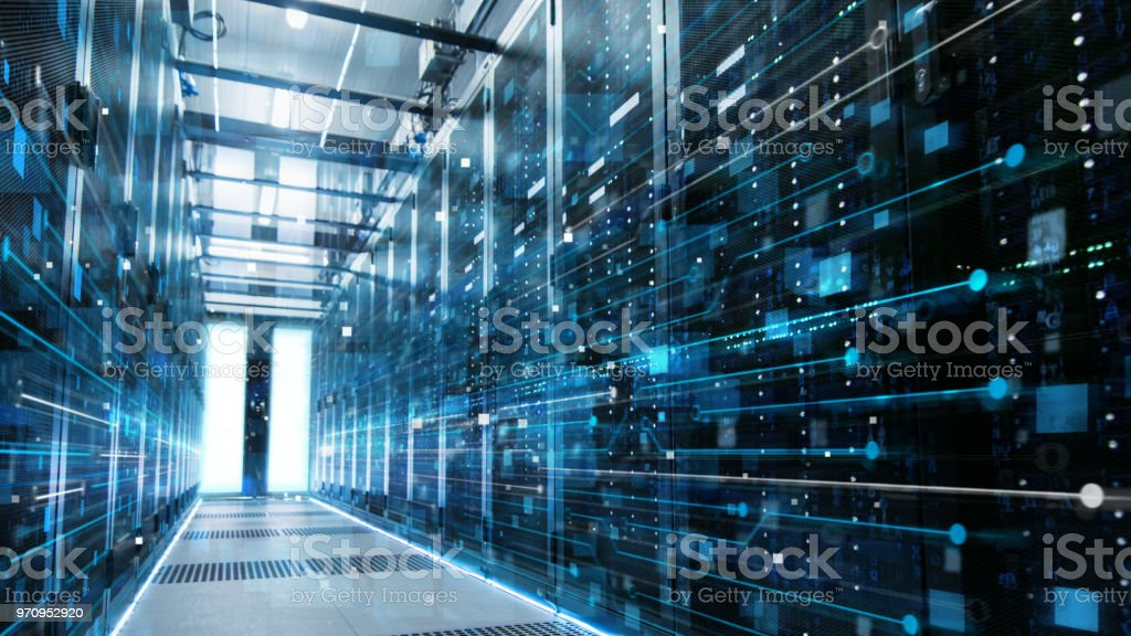 Shot of a Working Data Center With Rows of Rack Servers Connected with LAN Connection Visualisation Lines. Shot of a Working Data Center With Rows of Rack Servers Connected with LAN Connection Visualisation Lines. Artificial Stock Photo