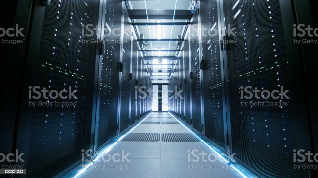 Shot of a Working Data Center With Rows of Rack Servers. stock photo