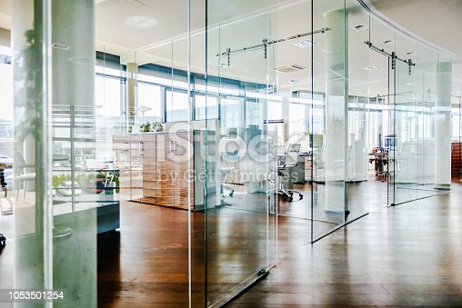 A shot of a modern office environment, empty before the working day begins.