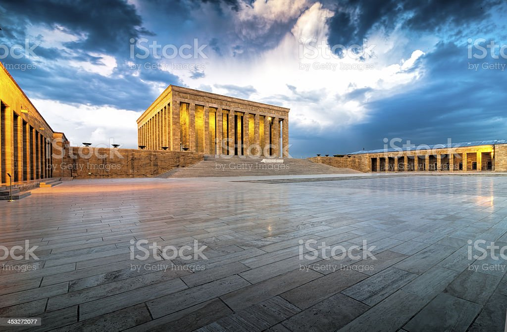 A shot of Antikabir at sunset with dark clouds stock photo