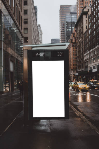 Shot of blank billboard to copy space on bus station in Manhattan, New York City
