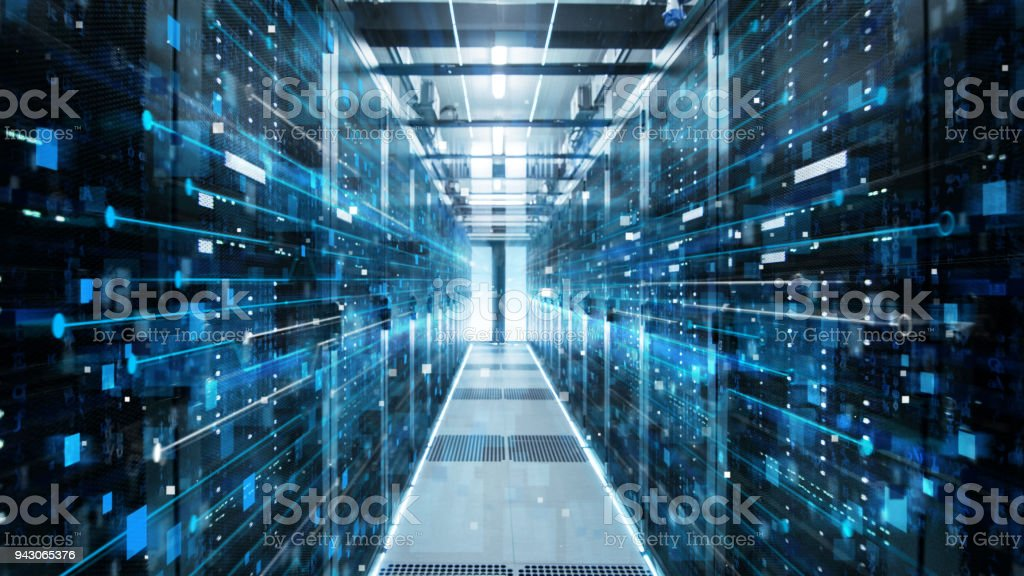 Shot of Corridor in Working Data Center Full of Rack Servers and Supercomputers with High Internet Visualization Projection. stock photo