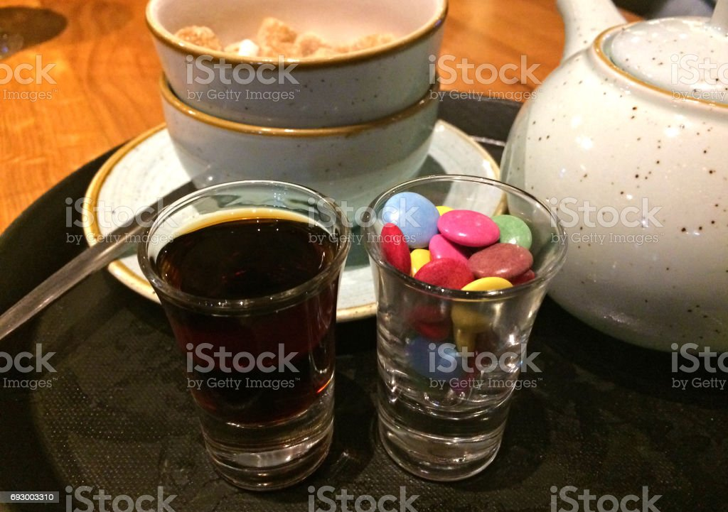 Shot of Jagermeister and candy