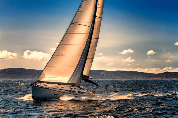 shot of sailing boat agains the sunlight - sail stock pictures, royalty-free photos & images