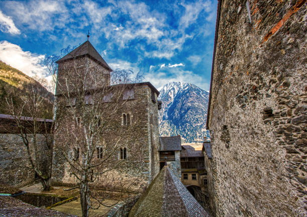 Shot of the Sand in Taufers castle in the Tyrolean Alps, Italy stock photo