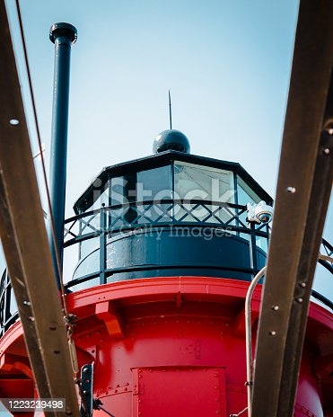 177362898 istock photo Shot of the South Haven Michigan lighthouse through the catwalk on the pier 1223239498