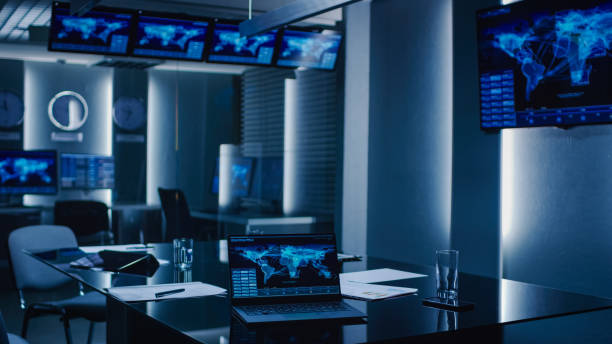 Shot of the System Control Monitoring Room. Empty Government Emergency Operations Center. Shot of the System Control Monitoring Room. Empty Government Emergency Operations Center. counter terrorism stock pictures, royalty-free photos & images