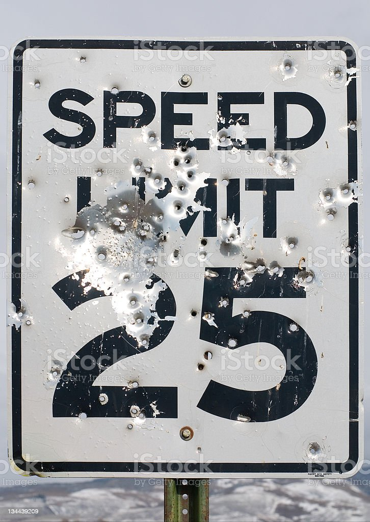 Shot up speed limit sign royalty-free stock photo