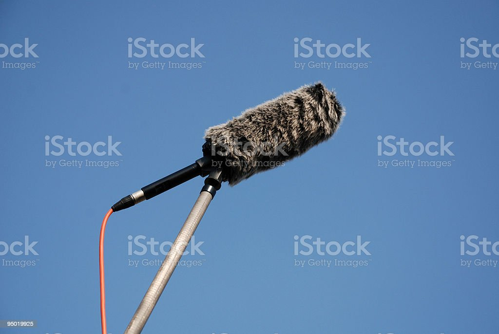 Shotgun Microphone and Wind Protector royalty-free stock photo