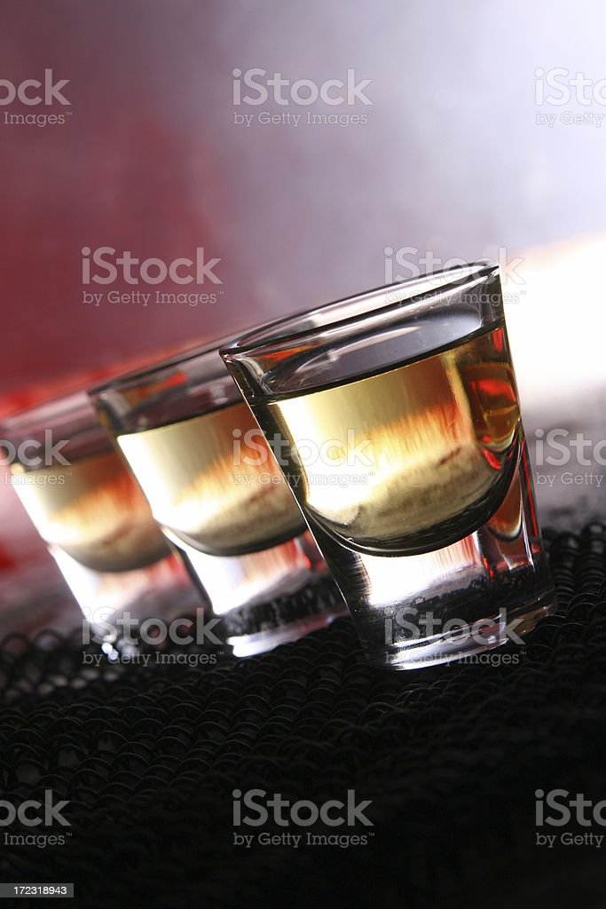 Shots of Whiskey or Tequlia royalty-free stock photo