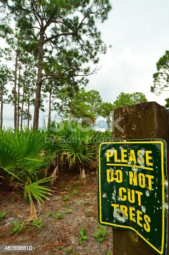 Portrait photo of old sign riddled with bullet and shotgun pellet holes mounted on an old wood post is at the right side of the frame, with Saw Palmettos and pine forest and water against a stormy sky in the background