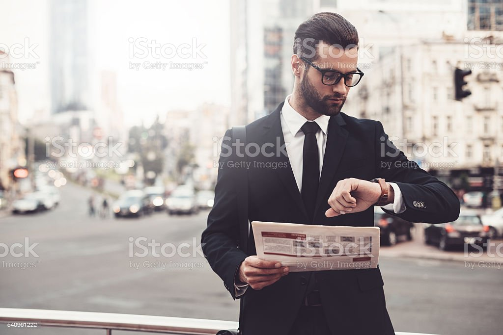 I should be there in time. stock photo