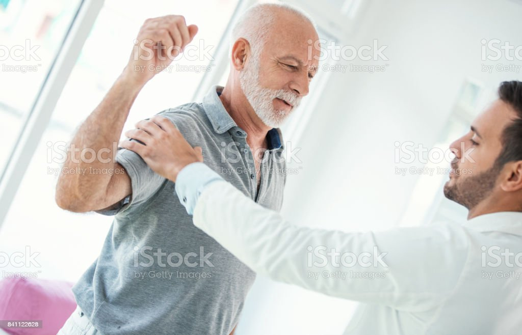 Shoulder dislocation. stock photo