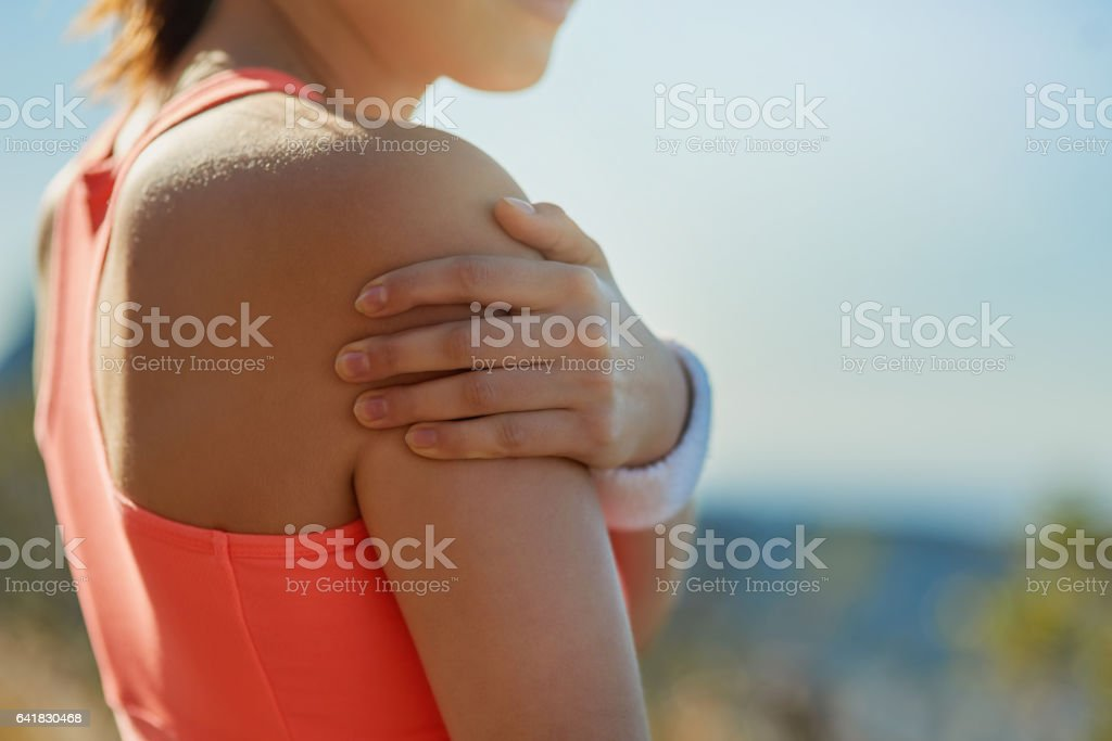 Shoulder injuries can really inhibit your movements stock photo